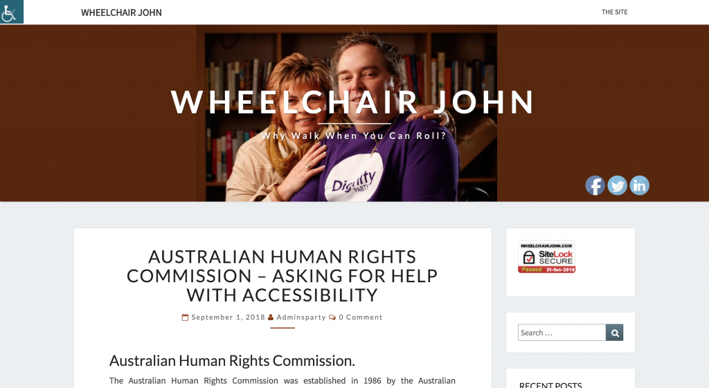 WheelchairJohn blog - and please remember to contact john duthie