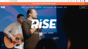 Website of Rise church. Pastor Tim is preaching and the website has plenty of options